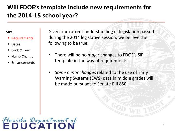 Will FDOE's template include new requirements for the 2014-15 school year?