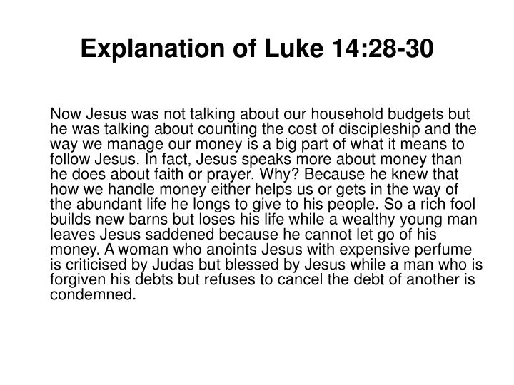Explanation of luke 14 28 30
