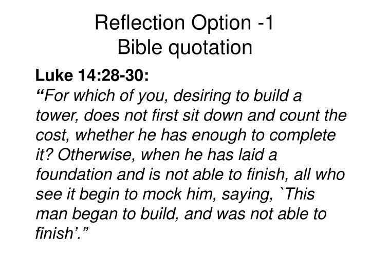 Reflection option 1 bible quotation