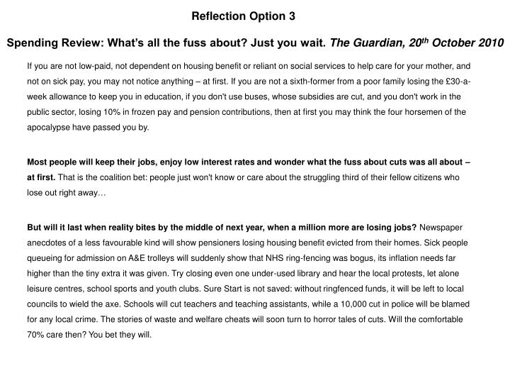 Reflection Option 3