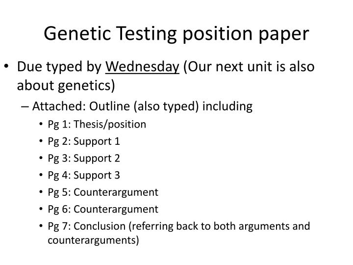 Genetic Testing position paper