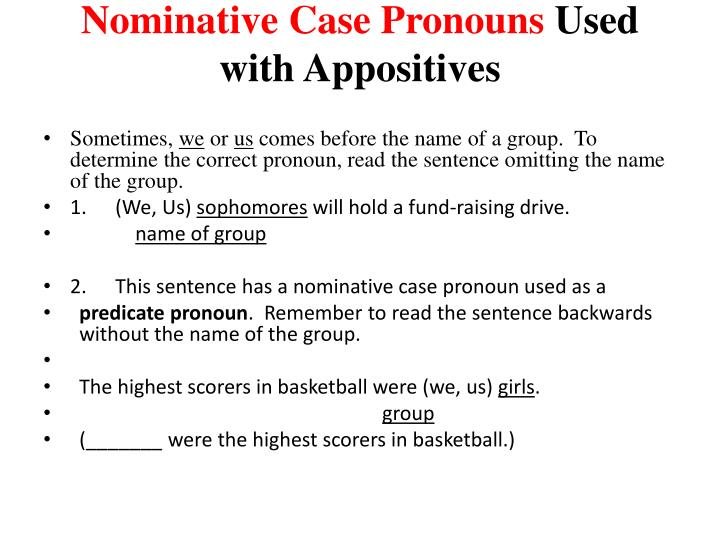 Nominative Case Pronouns