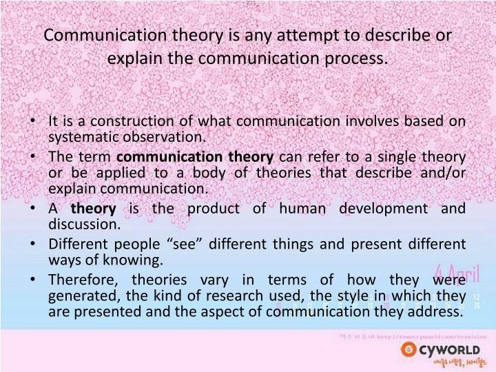 explain communication theories how the The notion of generality, or broad application, is important thus, theories are by their nature abstract and not content- or topic-specific.