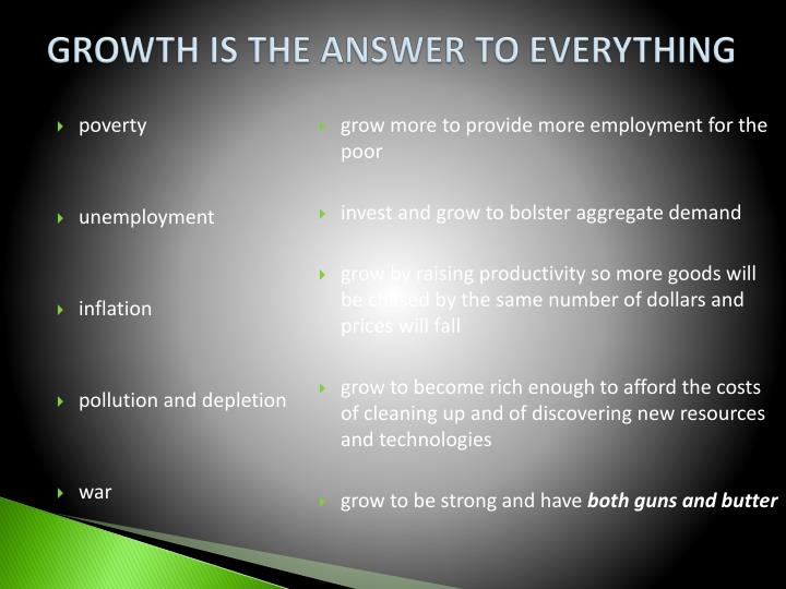 Growth is the answer to everything
