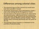 differences among colonial cities