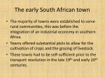 the early south african town