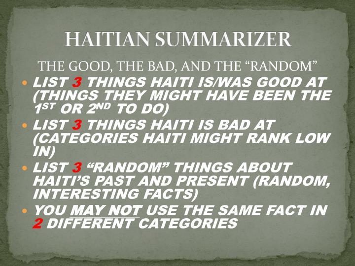 HAITIAN SUMMARIZER