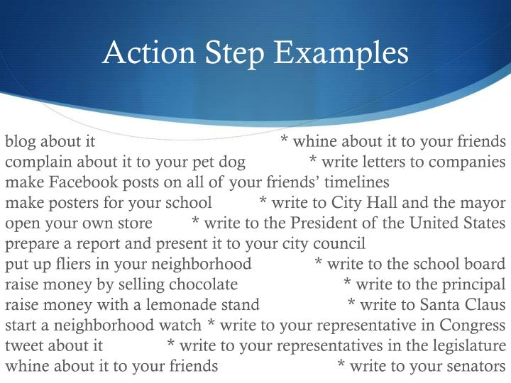 Action Step Examples
