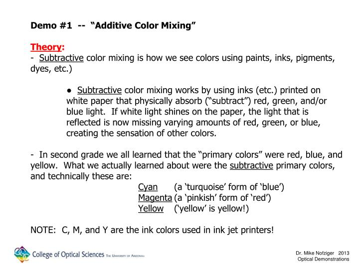 "Demo #1  --  ""Additive Color Mixing"""
