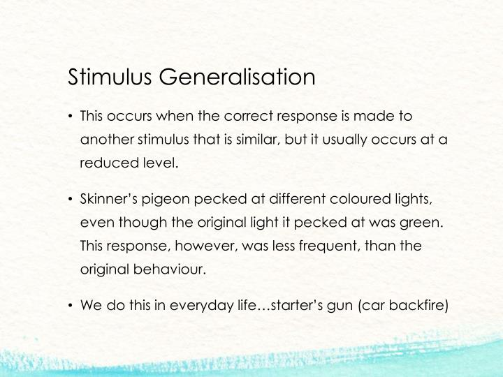 Stimulus Generalisation