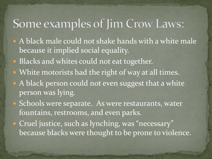 jim crow laws to kill a mocking bird Start studying jim crow laws and to kill a mockingbird vocab learn vocabulary, terms, and more with flashcards, games, and other study tools.