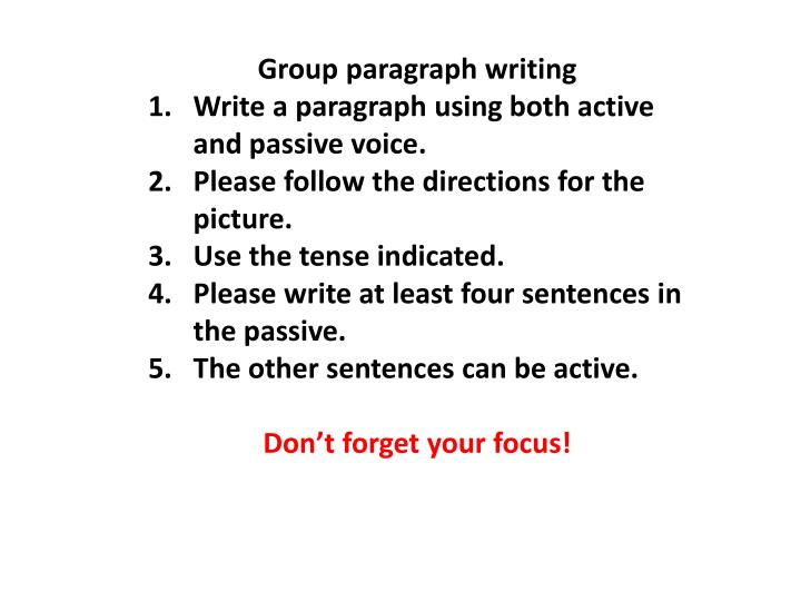 Group paragraph writing