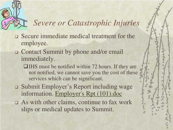 Severe or Catastrophic Injuries
