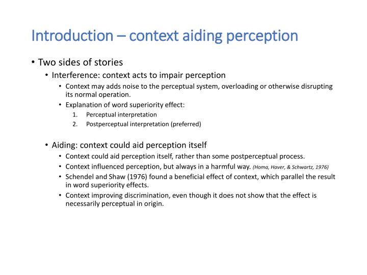 Introduction context aiding perception