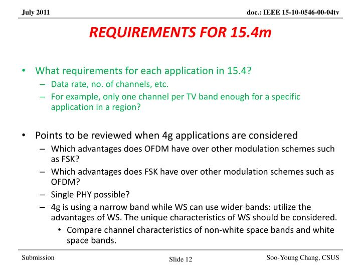 REQUIREMENTS FOR 15.4m