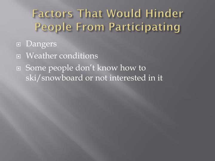 Factors That Would Hinder People From Participating