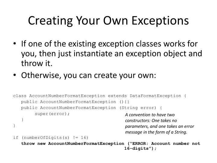 Creating Your Own Exceptions