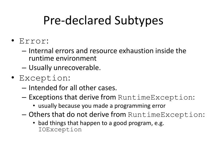 Pre-declared Subtypes