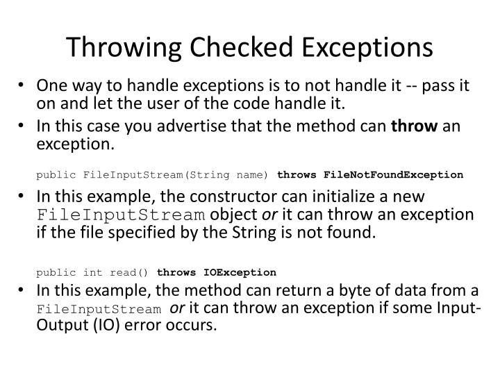 Throwing Checked Exceptions