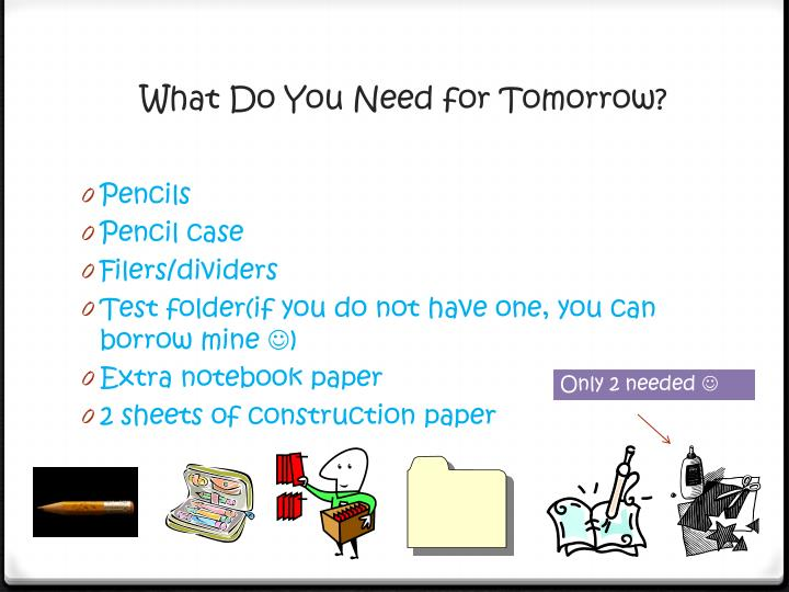 What Do You Need for Tomorrow?