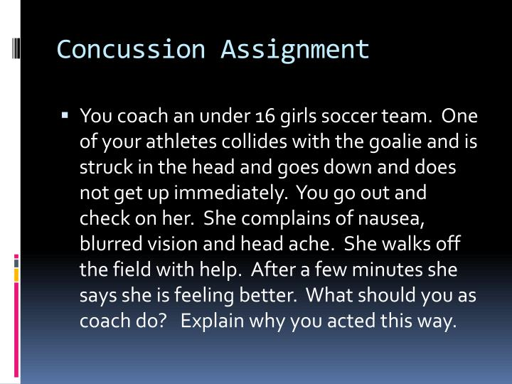 Concussion Assignment