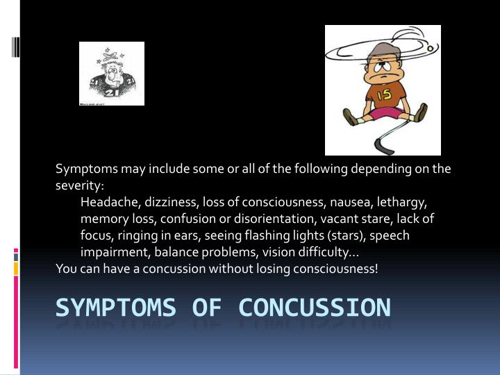 Symptoms may include some or all of the following depending on the severity: