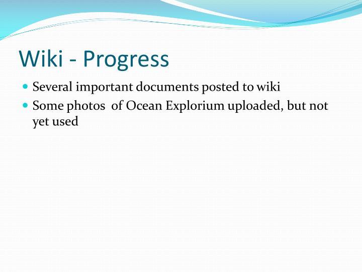 Wiki - Progress
