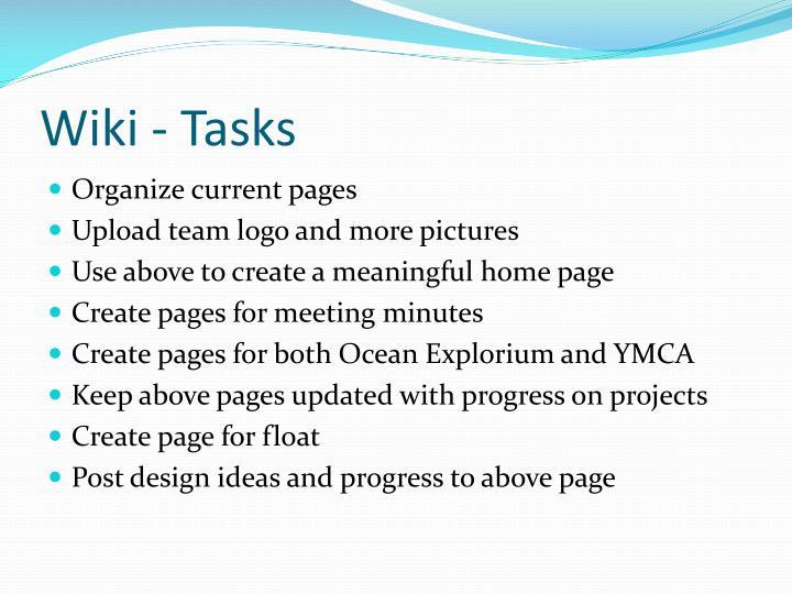 Wiki - Tasks