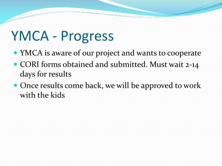 Ymca progress