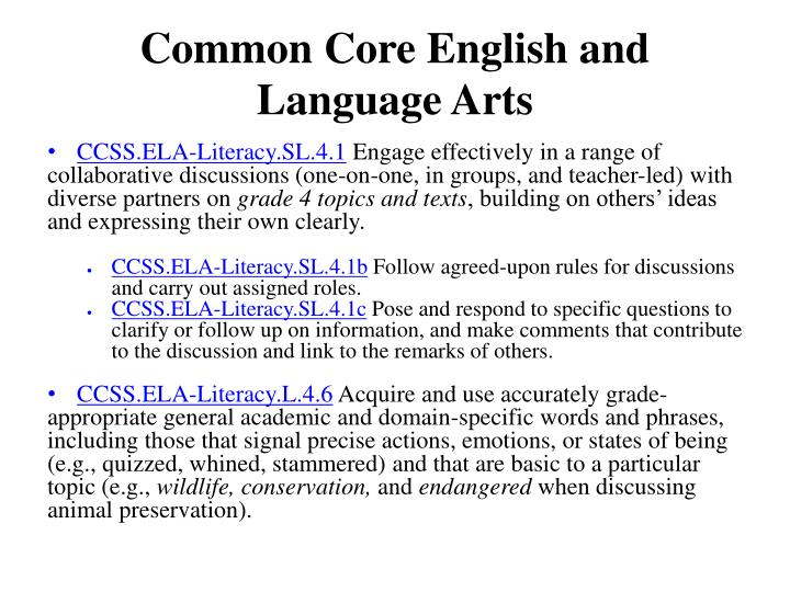 Common Core English and Language Arts