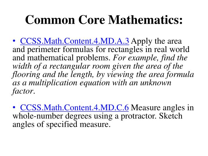 Common Core Mathematics: