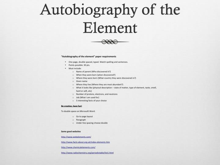 Autobiography of the Element
