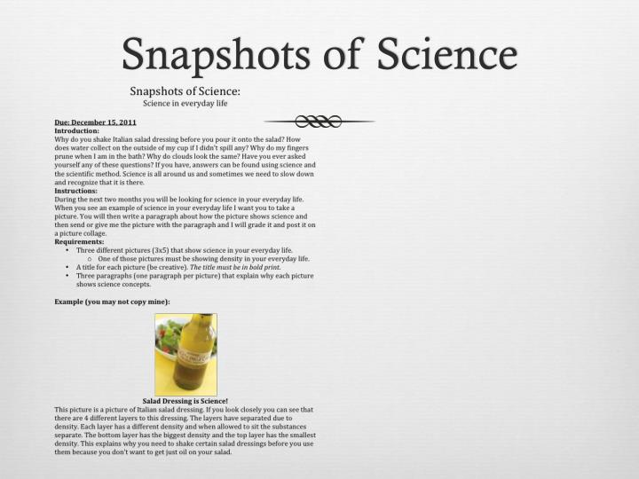 Snapshots of Science