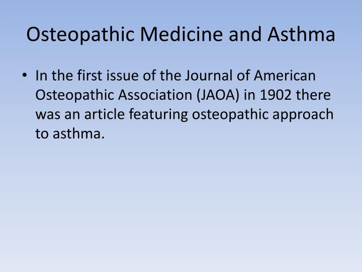 Osteopathic Medicine and Asthma