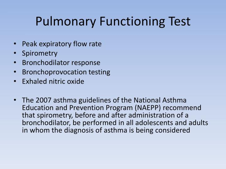 Pulmonary Functioning Test