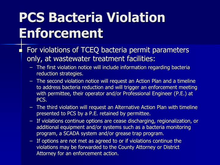 PCS Bacteria Violation Enforcement