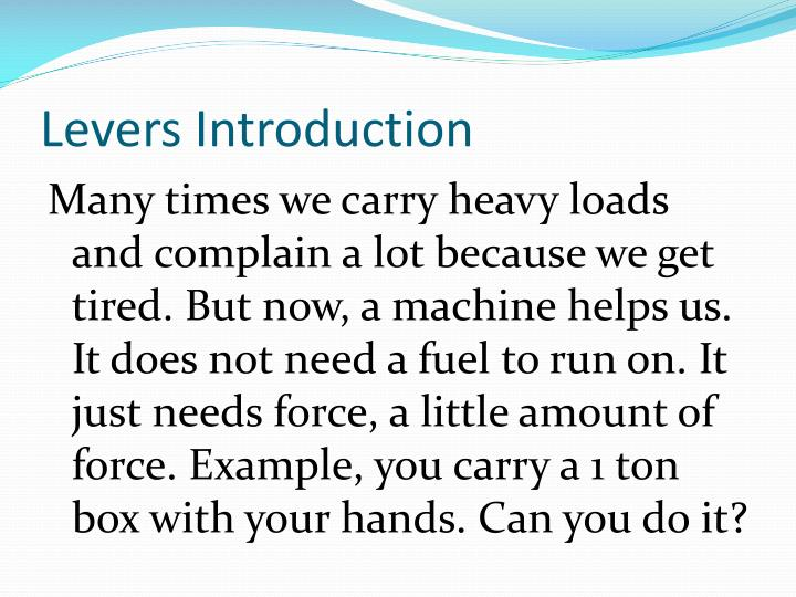 Levers introduction