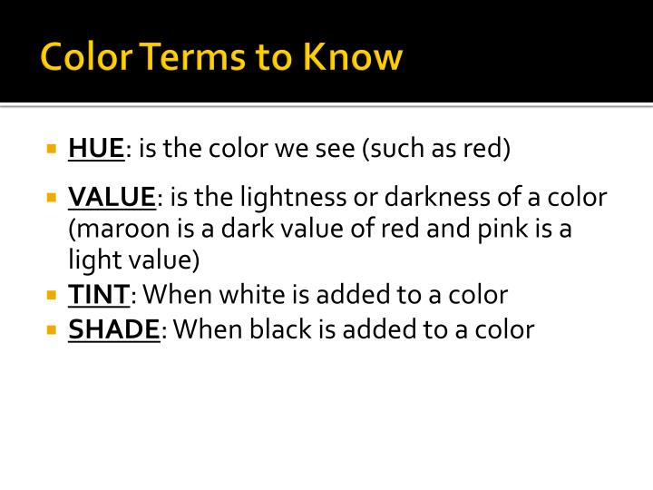Color Terms to Know