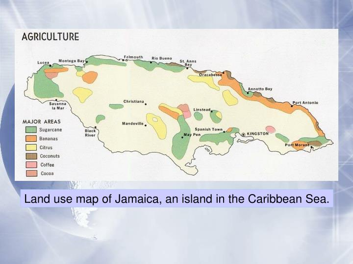 Land use map of Jamaica, an island in the Caribbean Sea.