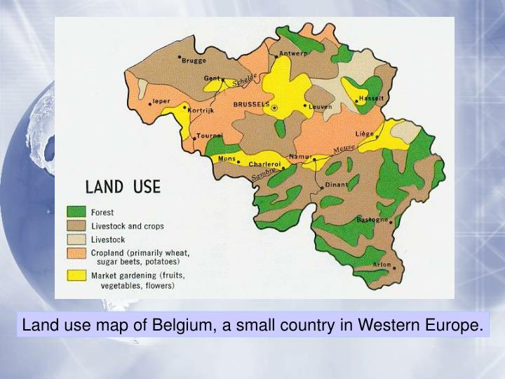 Land use map of Belgium, a small country in Western Europe.
