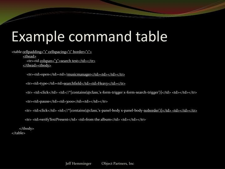 Example command table