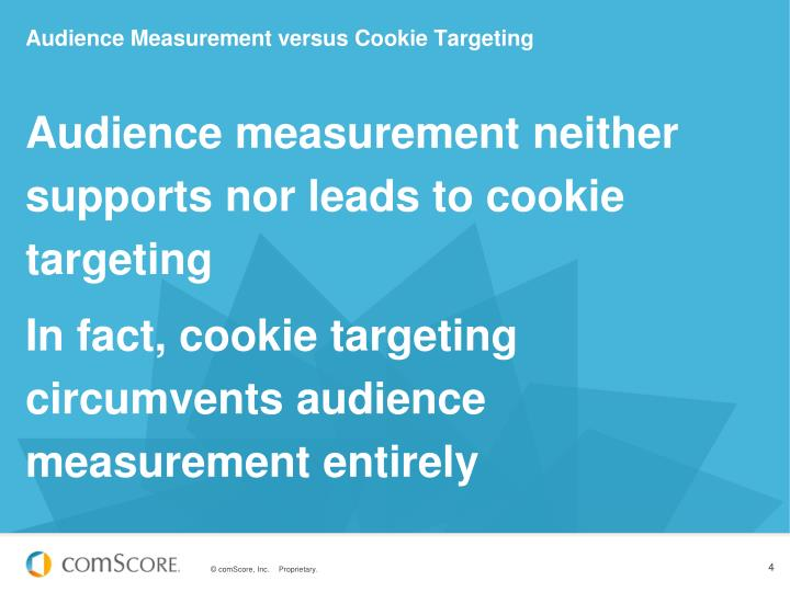 Audience measurement neither supports nor leads to cookie targeting