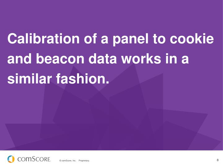 Calibration of a panel to cookie and beacon data works in a similar fashion.