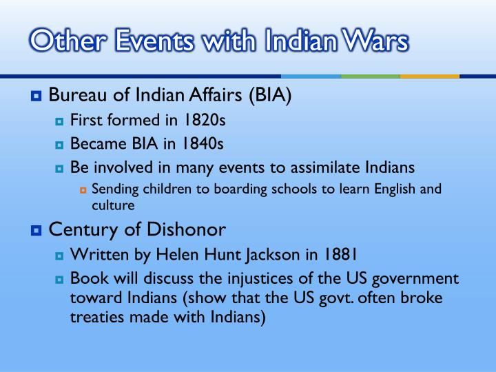 Other Events with Indian Wars