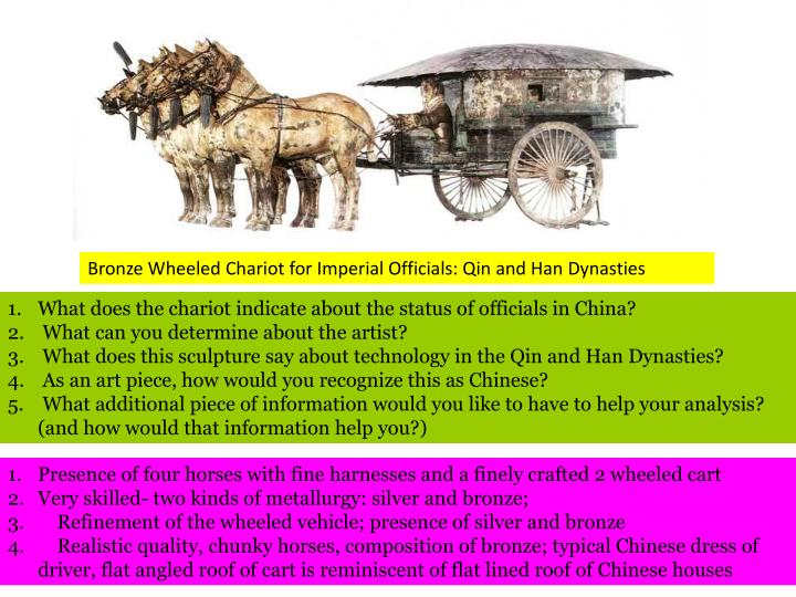 Bronze Wheeled Chariot for Imperial Officials: Qin and Han Dynasties