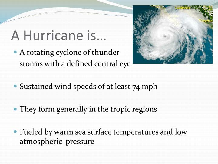 A hurricane is
