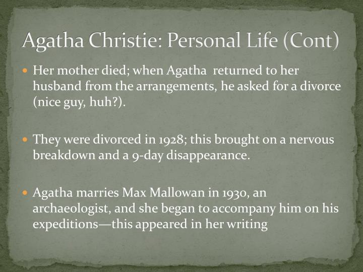 Agatha Christie: Personal Life (Cont)