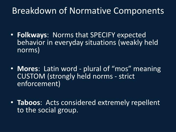 Breakdown of Normative Components