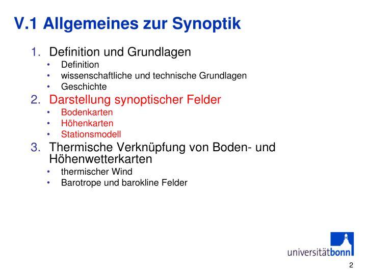 V.1 Allgemeines zur Synoptik
