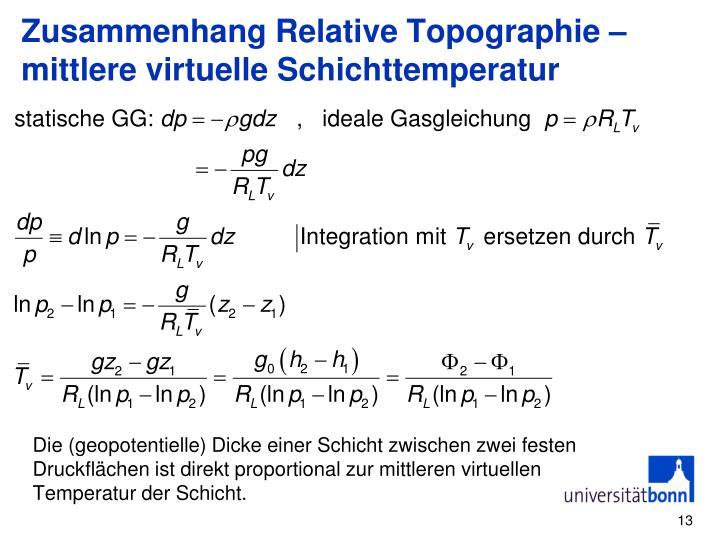 Zusammenhang Relative Topographie – mittlere virtuelle Schichttemperatur